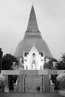 Portrait of phra pathommachedi temple in the town center of nakhon pathom, thailand