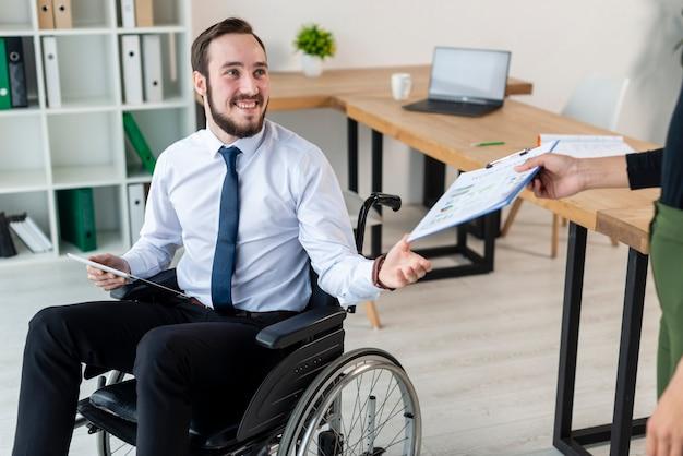 Portrait of positive adult man smiling