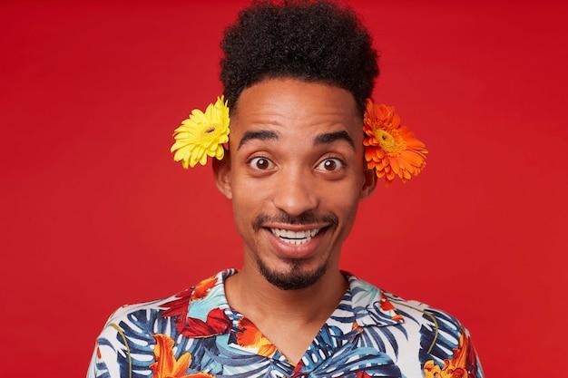Ritratto di giovane ragazzo afroamericano positivo, indossa in camicia hawaiana, guarda la telecamera con espressione felice, con due fiori dietro le orecchie, si trova su sfondo rosso.