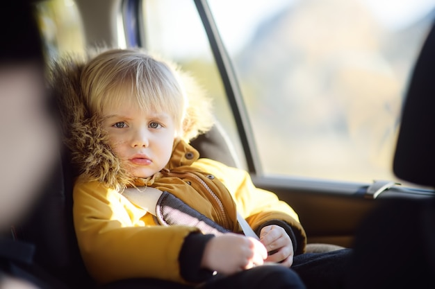 Portrait of pretty little boy sitting in car seat during road trip or travel.