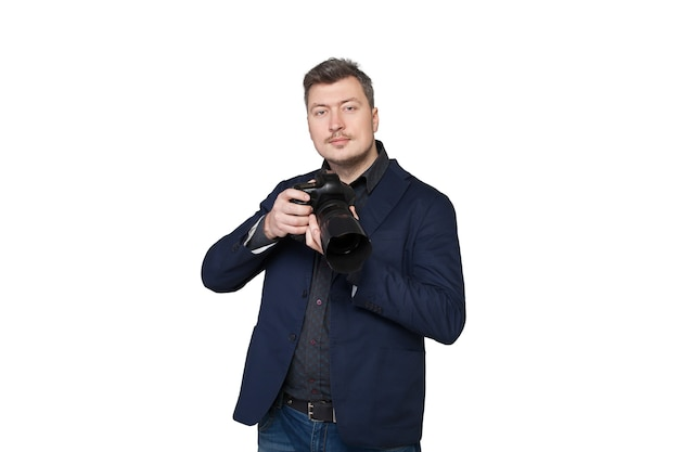 Portrait of professional cameraman with digital photo camera, front view