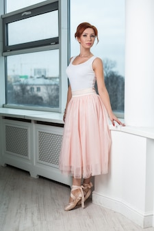 Portrait of redhead modern ballerina