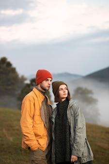 Portrait of rural travelers looking away