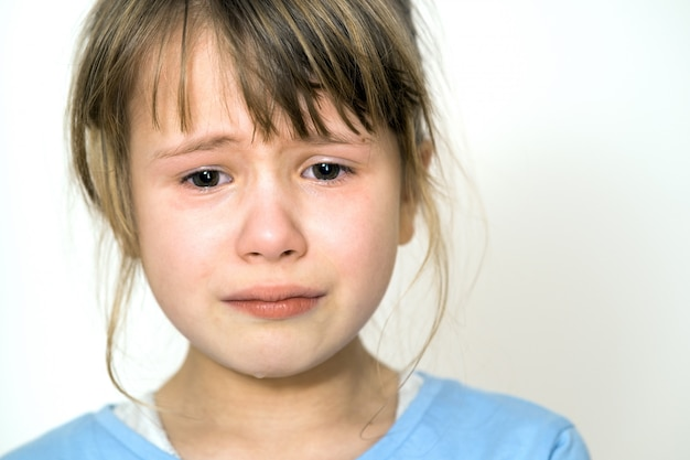 Portrait of a sad crying little girl.