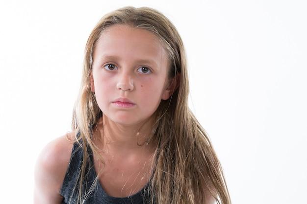Portrait of a sad pretty little girl child