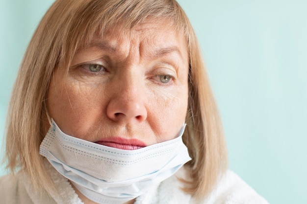 Portrait of a sad woman wearing a medical mask due to the coronavirus epidemic