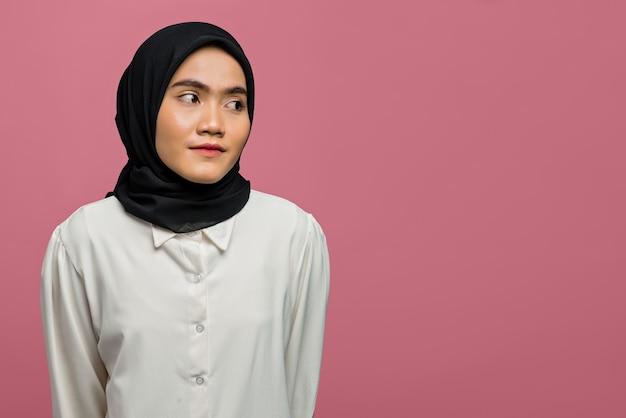 Portrait of sadness beautiful asian woman wearing a white shirt
