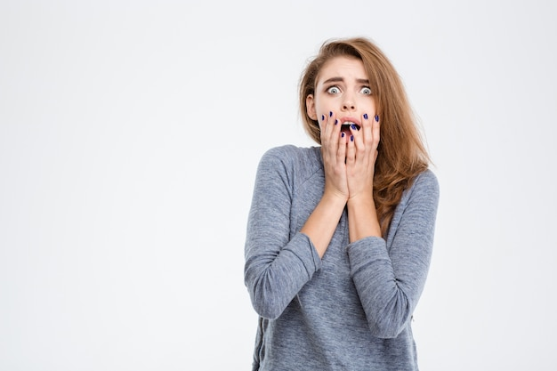 Portrait of a scared woman looking at camera isolated on a white background