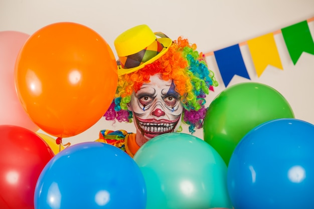 Portrait of a scary clown. violence and childhood fear
