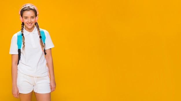 Portrait of a schoolgirl with copyspace
