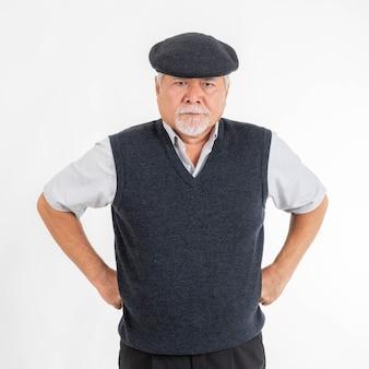 Portrait senior asian man feel bad mood angry isolated on white background - lifestyle senior male concept