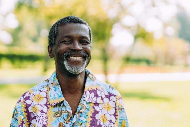 Portrait of senior black afro man