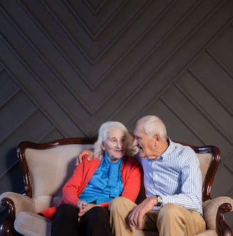 Portrait of senior couple together in love