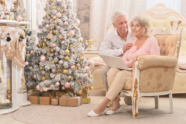 Portrait of  senior couple using laptop with christmas decorations on background