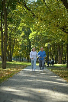 Portrait of a senior couple walking in autumn forest