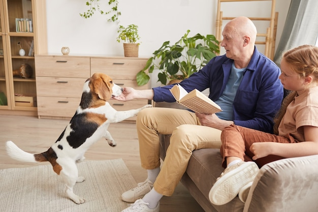 Portrait of senior man playing with dog while enjoying reading in living room with granddaughter