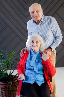 Portrait of senior man and woman posing