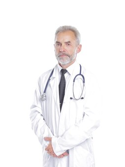 Portrait of a senior physician therapist.isolated on light background.