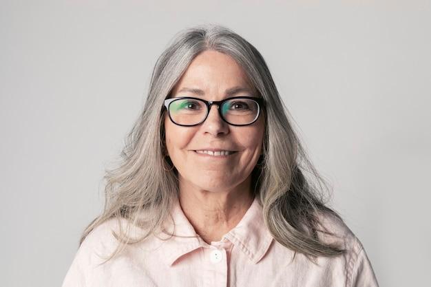 Portrait of a senior woman wearing eyeglasses