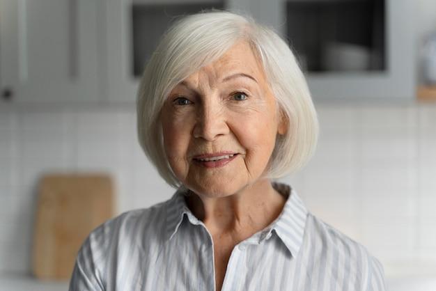 Portrait of senior woman with alzeihmer