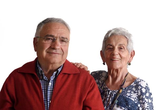 Portrait of a seniour couple on white background