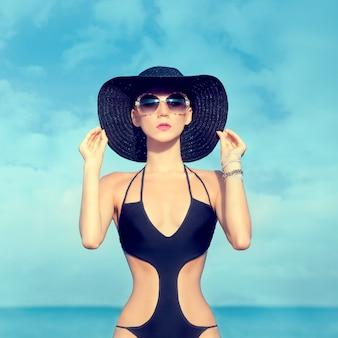 Portrait of sensual fashion girl on holiday