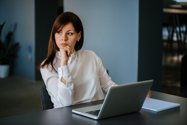 Portrait of serious woman in the office
