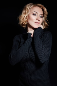 Portrait sexy business women blonde black jacket