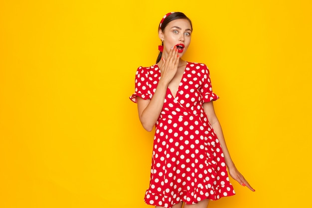 Portrait of shocked pin-up girl