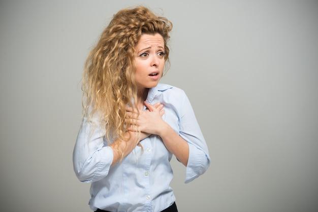 Portrait of a shocked woman