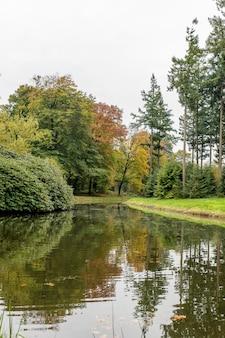 Портретный снимок парка с озером, разными видами деревьев и ясным небом