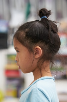 Portrait of side view of  girl looking something