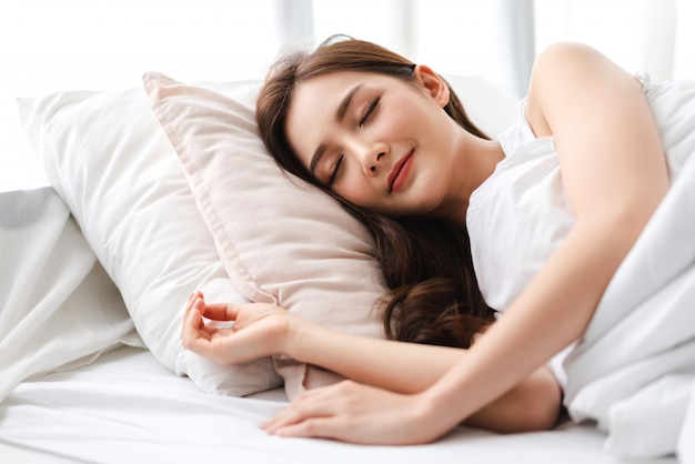 Portrait of sleeping young asian woman