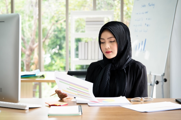 Portrait of smart beautiful asian businesswoman working in the office
