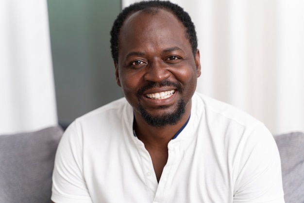 Portrait of smiley black man
