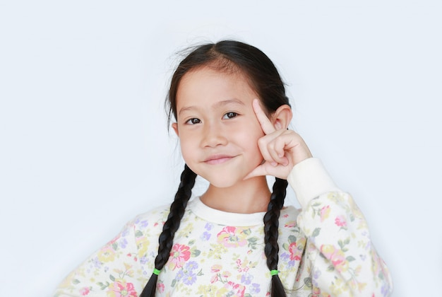 흰색 배경에 고립 된 카메라를 찾고 좋은 생각이나 좋은 기억을 위해 머리에 검지 손가락을 가리키는 아시아 소녀 미소 초상화