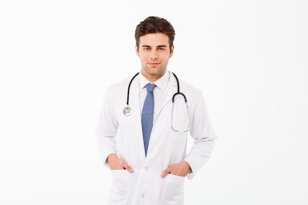 Portrait of a smiling attractive male doctor man