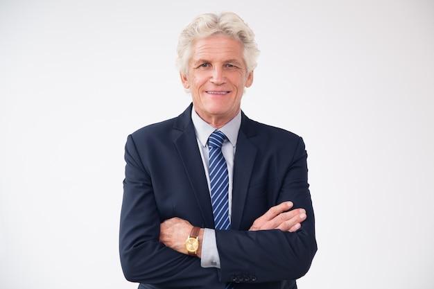 Portrait of smiling caucasian senior businessman