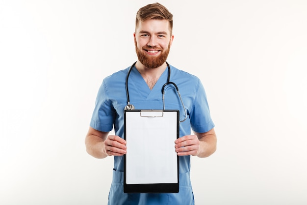 Portrait of a smiling friendly medical doctor or nurse
