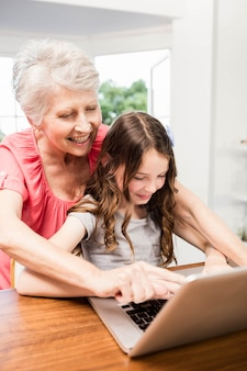 Portrait of smiling grandmother and granddaughter using laptop at home