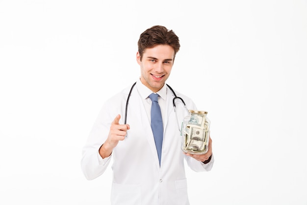 Portrait of a smiling happy male doctor dressed