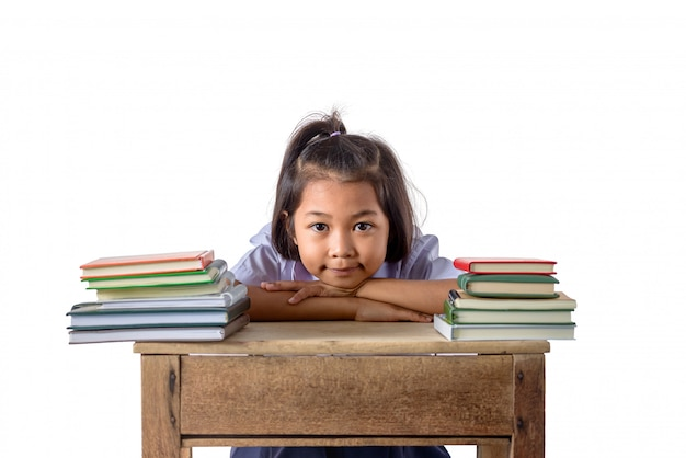 Portrait of smiling little student asian girl with many books