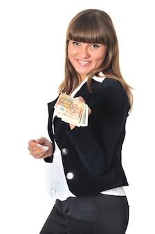 Portrait of smiling woman wins and get cash money