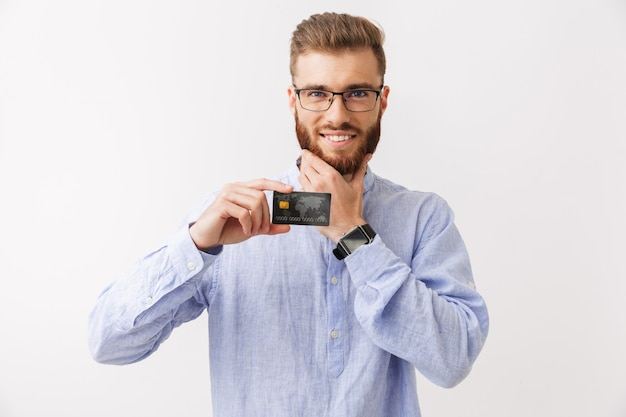 Portrait of a smiling young bearded man