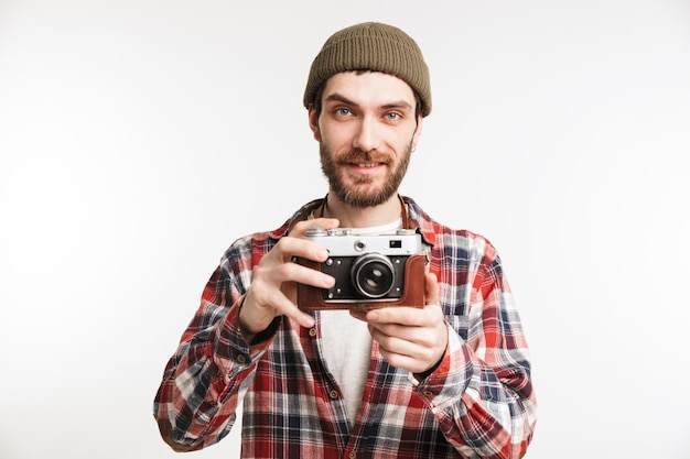 Portrait of a smiling young man tourist