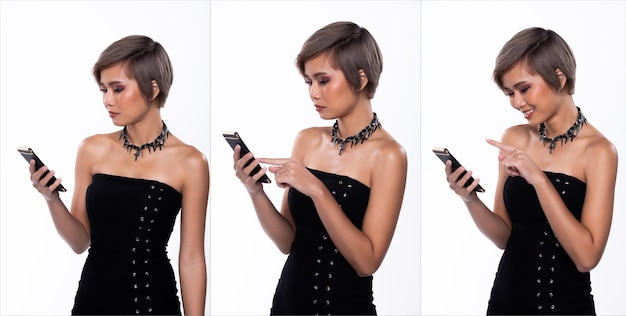 Portrait snap figure, asian woman wear black sexy wrap skirt, she 20s has dying gray color short hair and acts many poses expression while using smartphone chat work, white background isolated collage