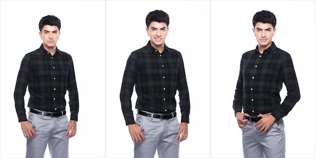 Портрет snap figure, кавказский деловой человек стоит в темно-зеленой рубашке, серых брюках и туфлях, он уверенно стоит и чувствует себя счастливой, сильной улыбкой, группа коллажей на белом фоне изолирована