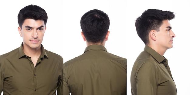 Портрет snap figure, молодой кавказский деловой человек в темно-зеленой рубашке, он уверенно стоит и чувствует себя счастливой, сильной улыбкой, группа коллажей на белом фоне, изолированные 360