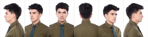 Портрет snap figure, молодой кавказский деловой человек в темно-зеленой рубашке с бирюзовым галстуком, он уверенно стоит и чувствует себя счастливой, сильной, коллажная группа на белом фоне, изолированные 360