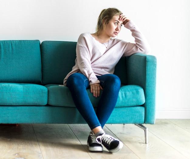 Portrait of stressed caucasian woman